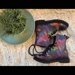 Shoes - Rainbow Combat Moto Boots Doc Marten Hi Top Shoes